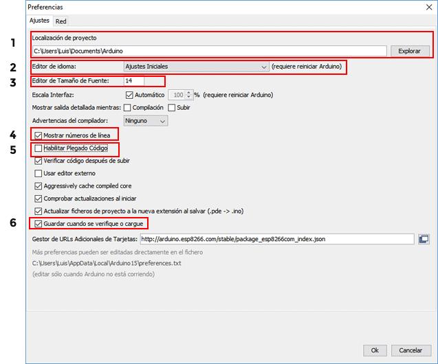 Preferencias más importantes IDE de Arduino