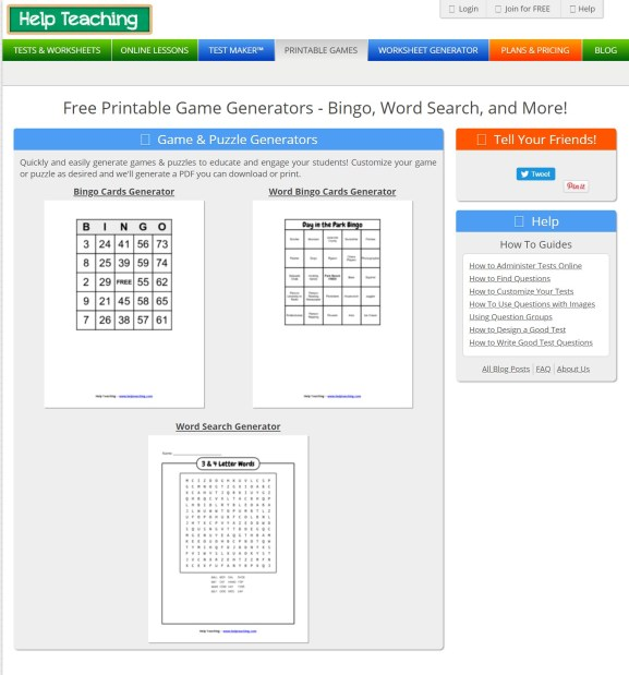 pantalla principal de Help Teaching