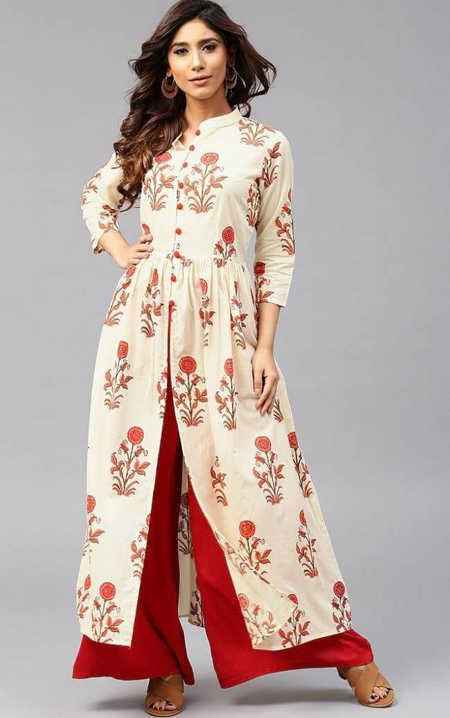 Front cut kurti with pallazo pants