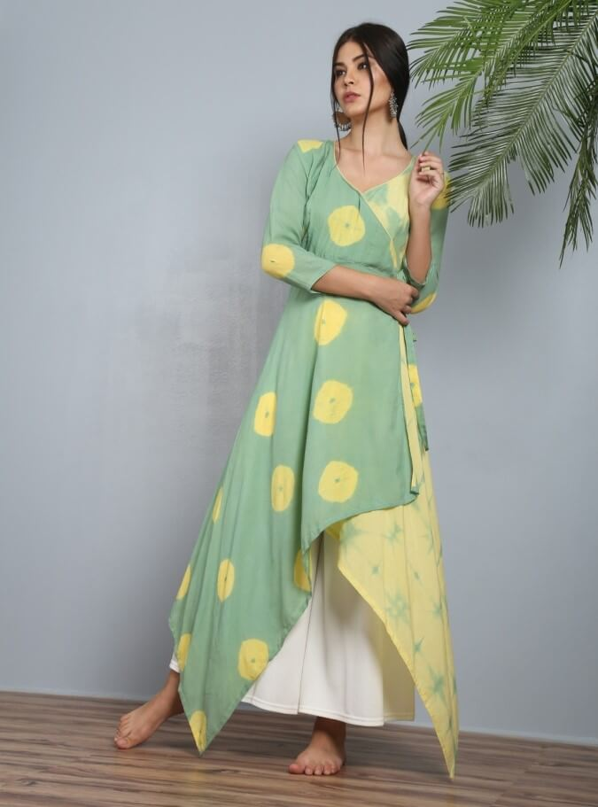 Green and yellow angrakha tail cut kurti with pallazos