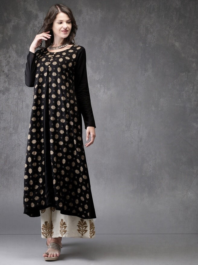 Black and gold-toned printed A-line kurta