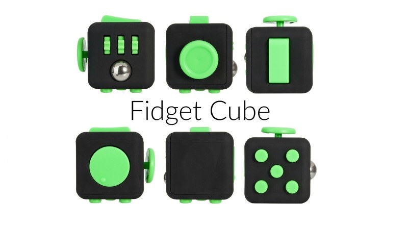 This picture shows the Fidget cube with its six different sides.
