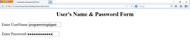 html form how to use username and password field in html form