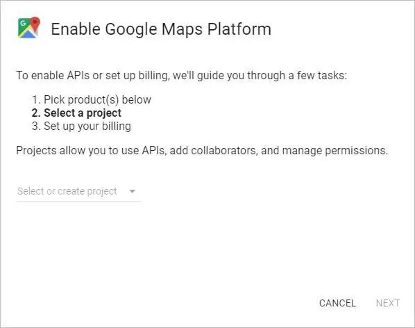 Google Maps Platform - Select Project
