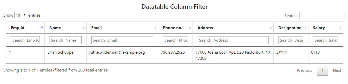 Datatable filter with default value