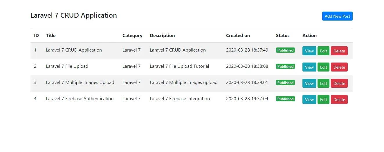 Laravel CRUD - Post Listing