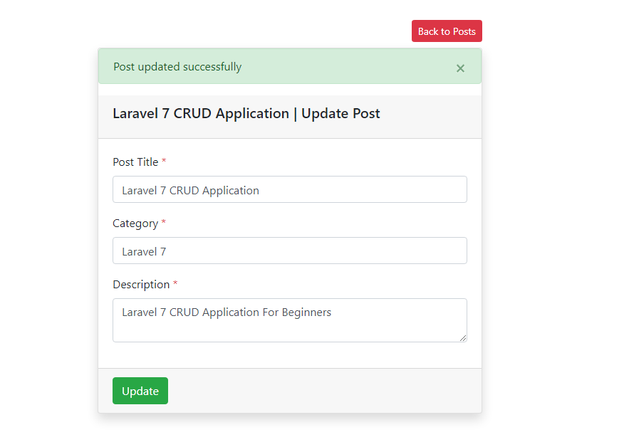 Laravel 7  Post Updated