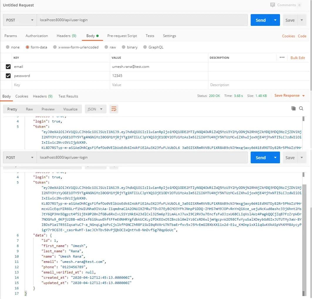 User Login API Response
