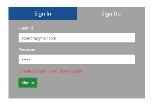 Email doesn't exist validation