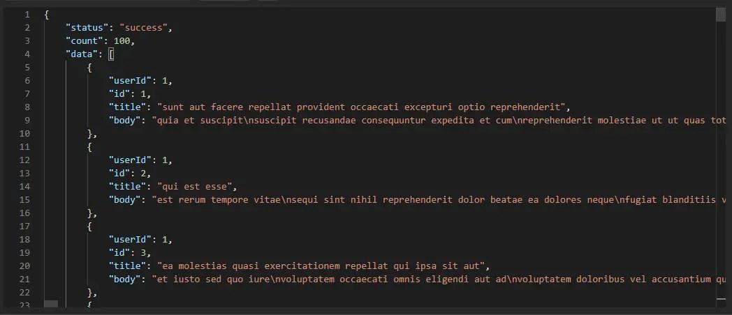 API response in postman