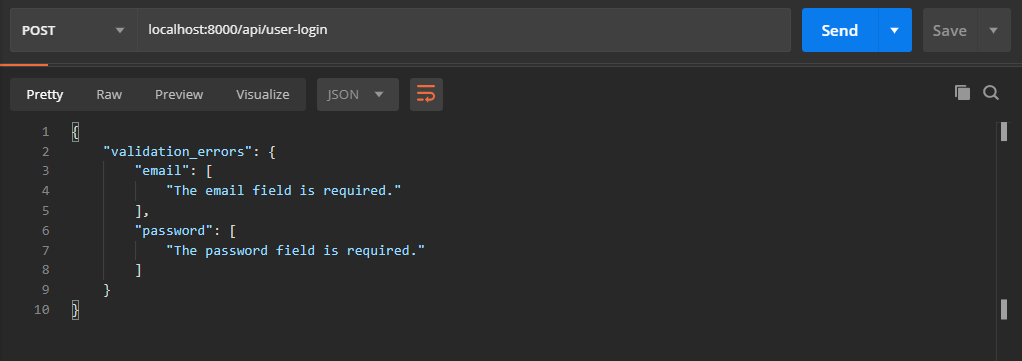 Validation Errors Message of User login