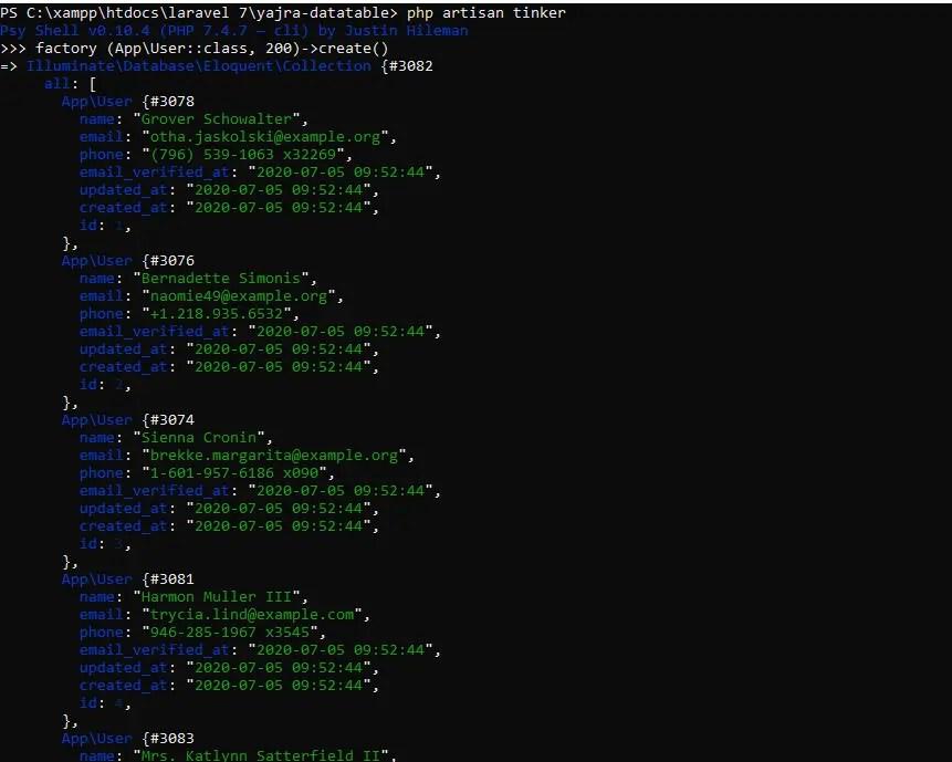 Laravel 7 Tinker Class for generating dummy records