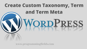 Create Custom taxonomy in Wordpress