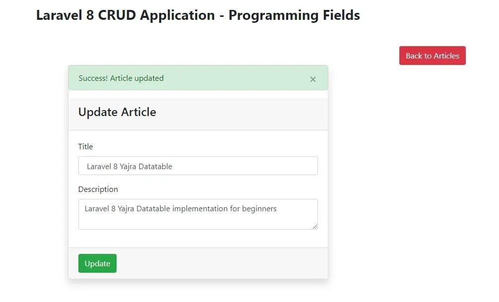Laravel 8 CRUD App - Article updated