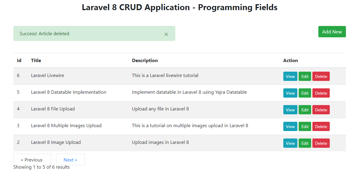 Laravel 8 CRUD App - Article Deleted Successfully