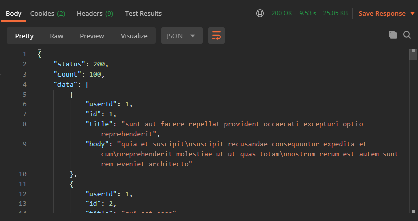 GET request response in JSON