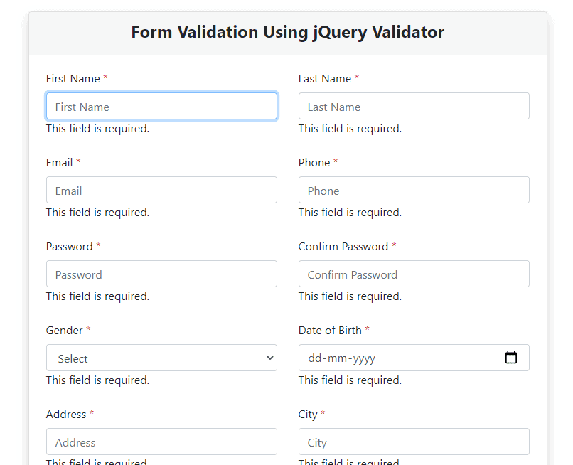 Required Validation Error in jQuery validator