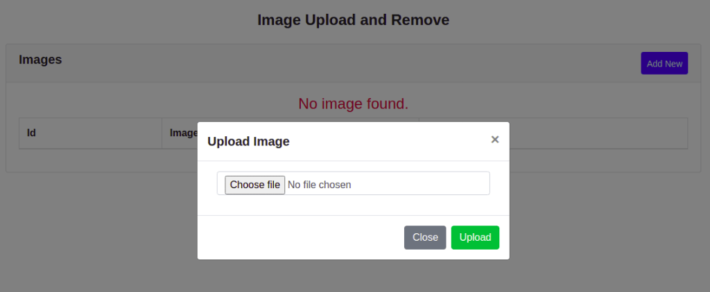 Upload Image using modal