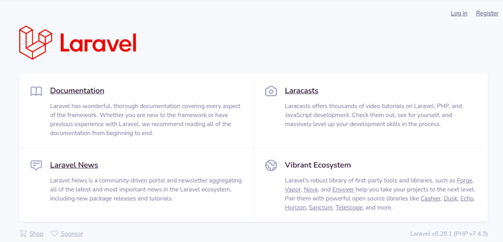 Laravel 8 Default Page with Auth
