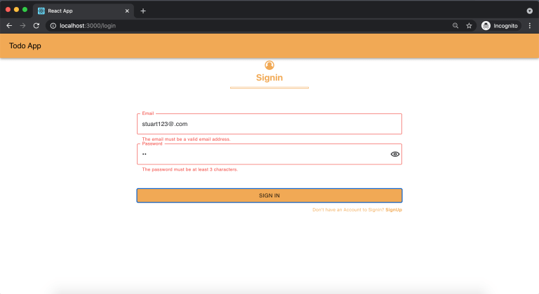 Error message for Email Id and password