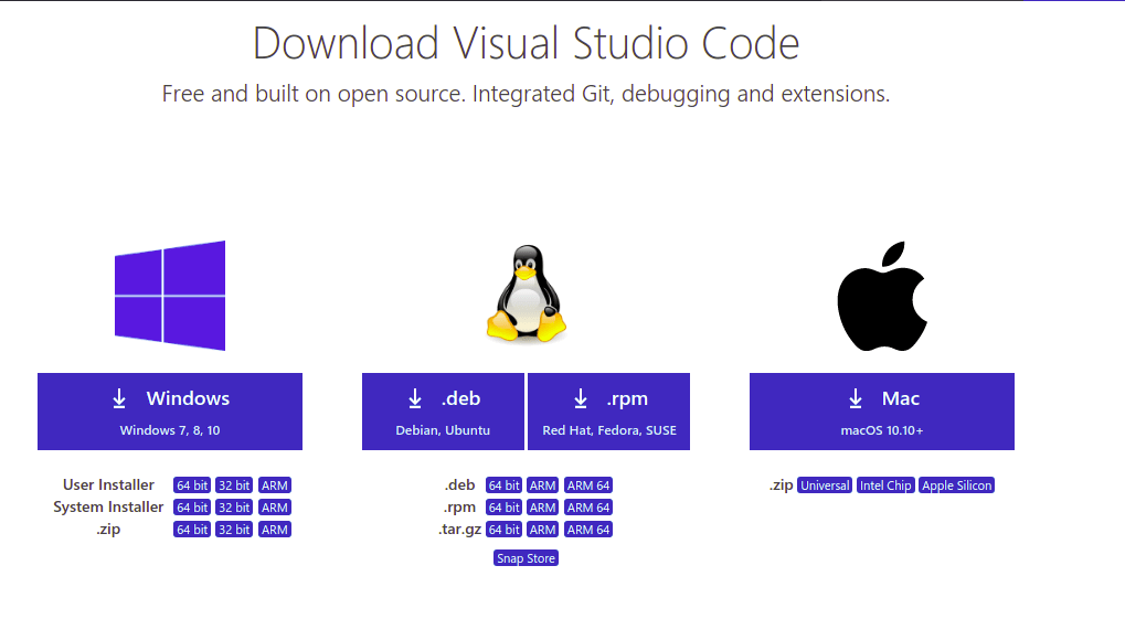Official Download Page of VS Code