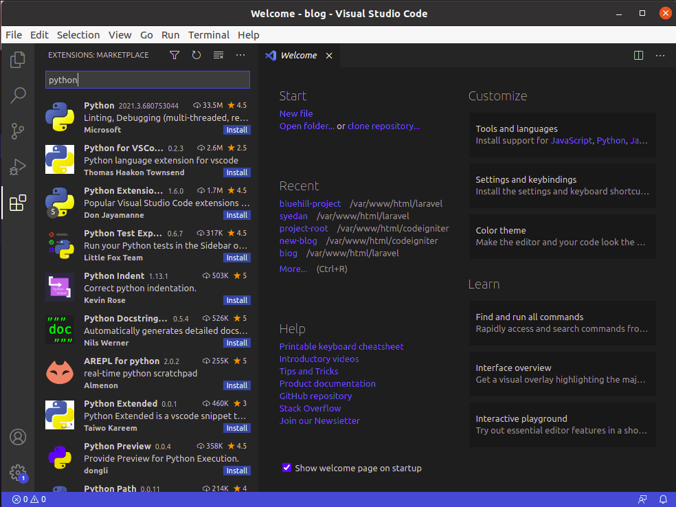 Install Extensions in Visual Studio Code