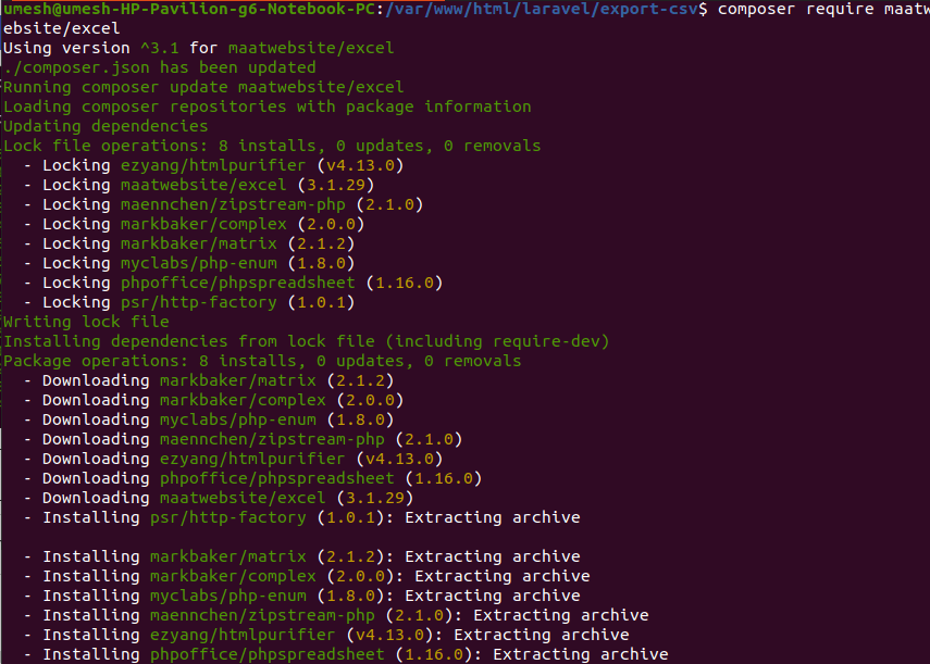 Installing Maatwebsite/excel Package in Laravel 8