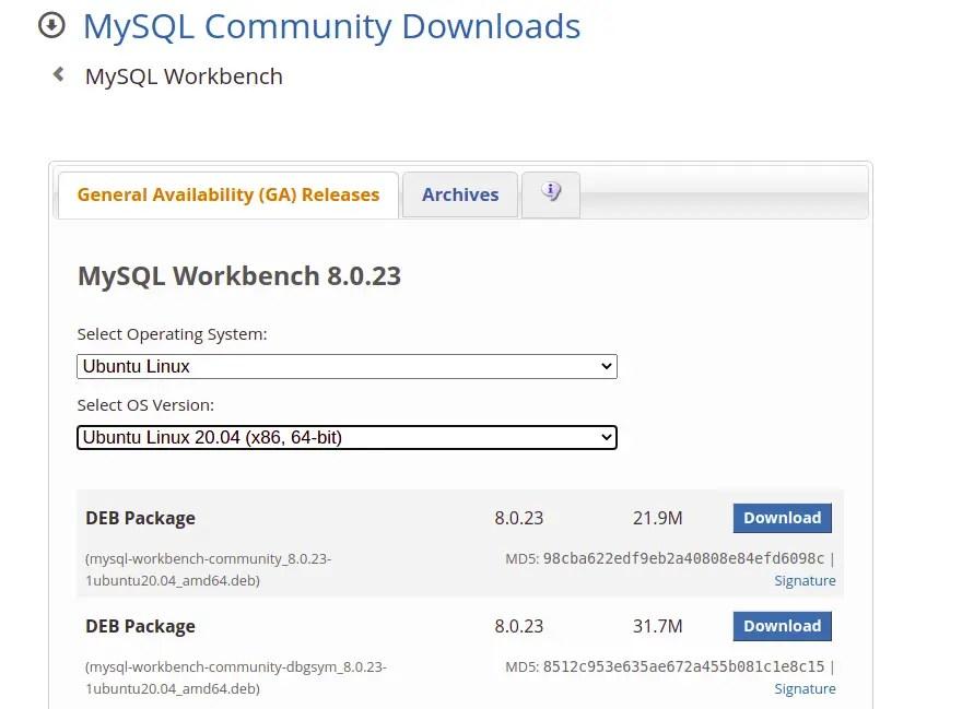 Download MySQL Deb Package