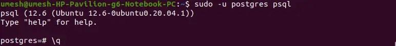 Quit PostgreSQL Terminal