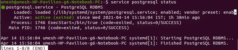 Postgres Service Status in Ubuntu