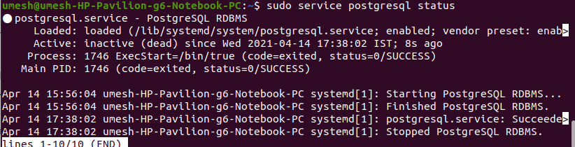 PostgreSQL Service Inactive