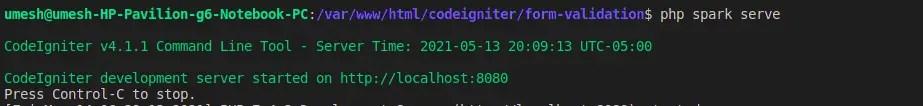 CodeIgniter 4 Development Server Started