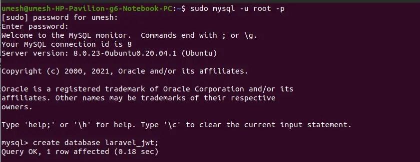 Create Database For Laravel JWT