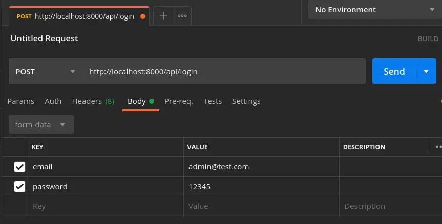 User Login - Parameters in Form Data