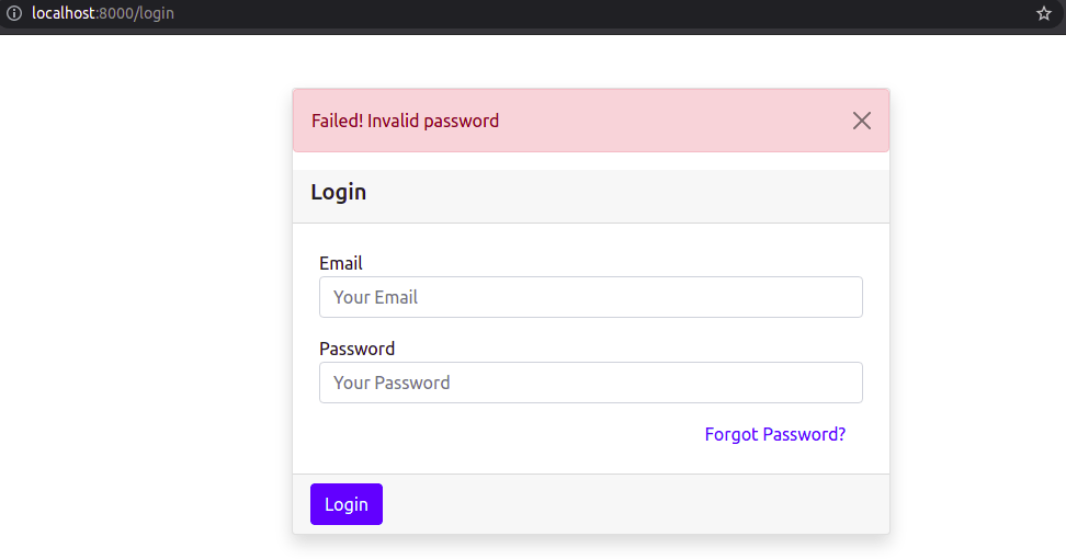 Login Functionality with Invalid Password