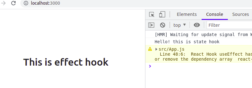 Component Mount Effect in useEffect hook