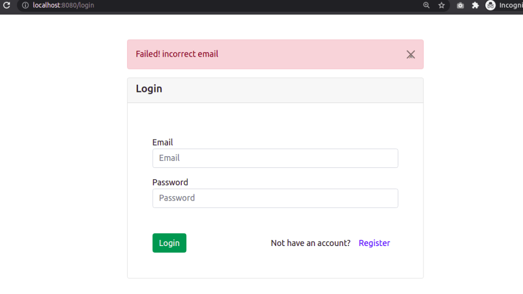 CodeIgniter Login Form with Incorrect Email