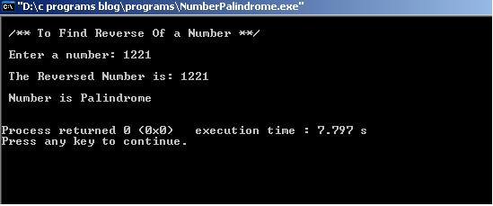 Number-Palindrome-Output