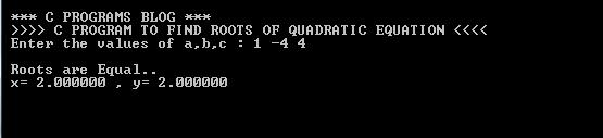 C Program Quadratic Equation Output