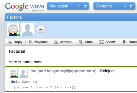 Highlight code on Google Wave