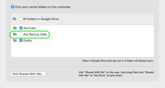 Google Drive settings for Arq 4
