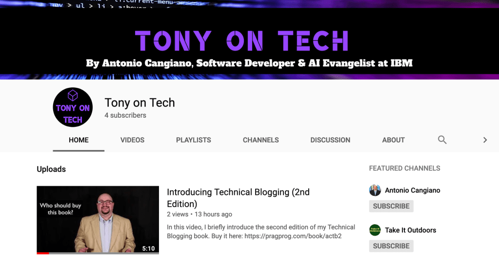Tony on Tech YouTube channel.