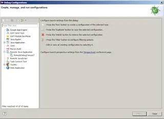 Eclipse debug configuration dialog