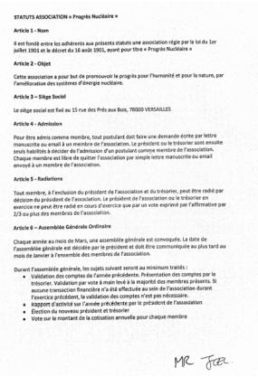 Statuts Progrès Nucléaire