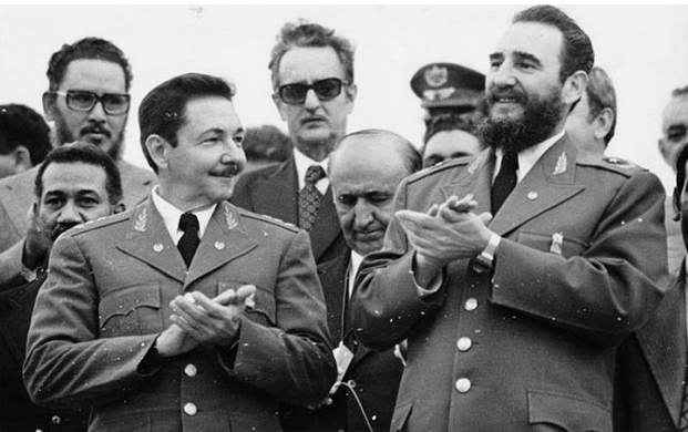 Raúl and Fidel Castro at the First Party Congress in December 1975.