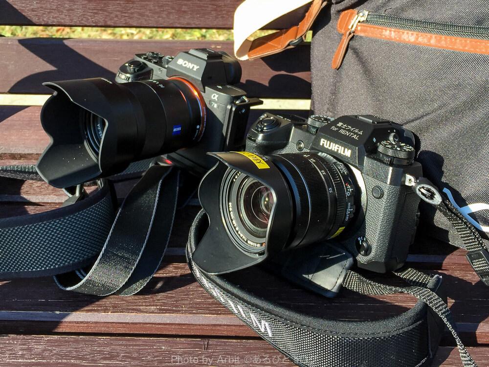 富士フィルムX-H1と SONY α7IIを並べて撮った写真