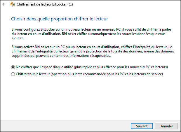 bitlocker type de chiffrement