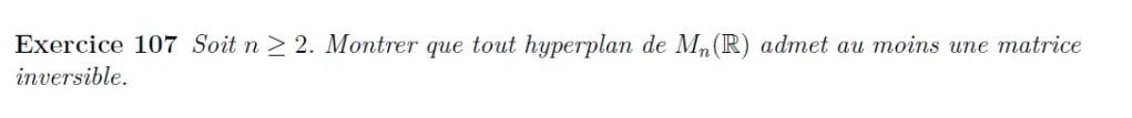 Hyperplan et matrice inversible