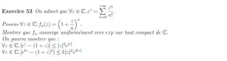 Approximation de l'exponentielle