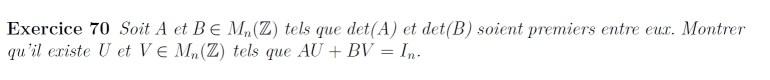 Arithmétique et matrices